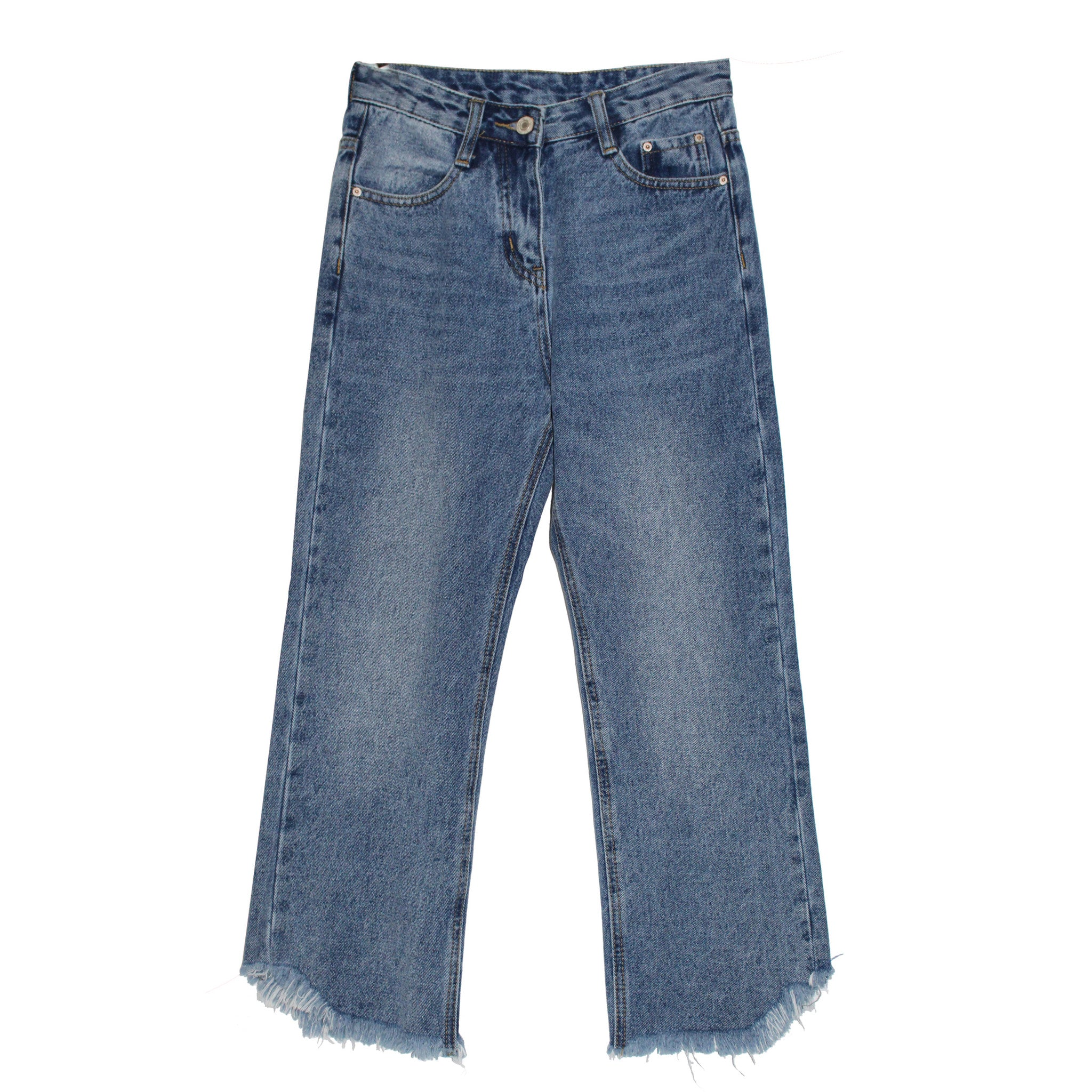 Cut Off Cropped Stonewashed Jeans - Indigo