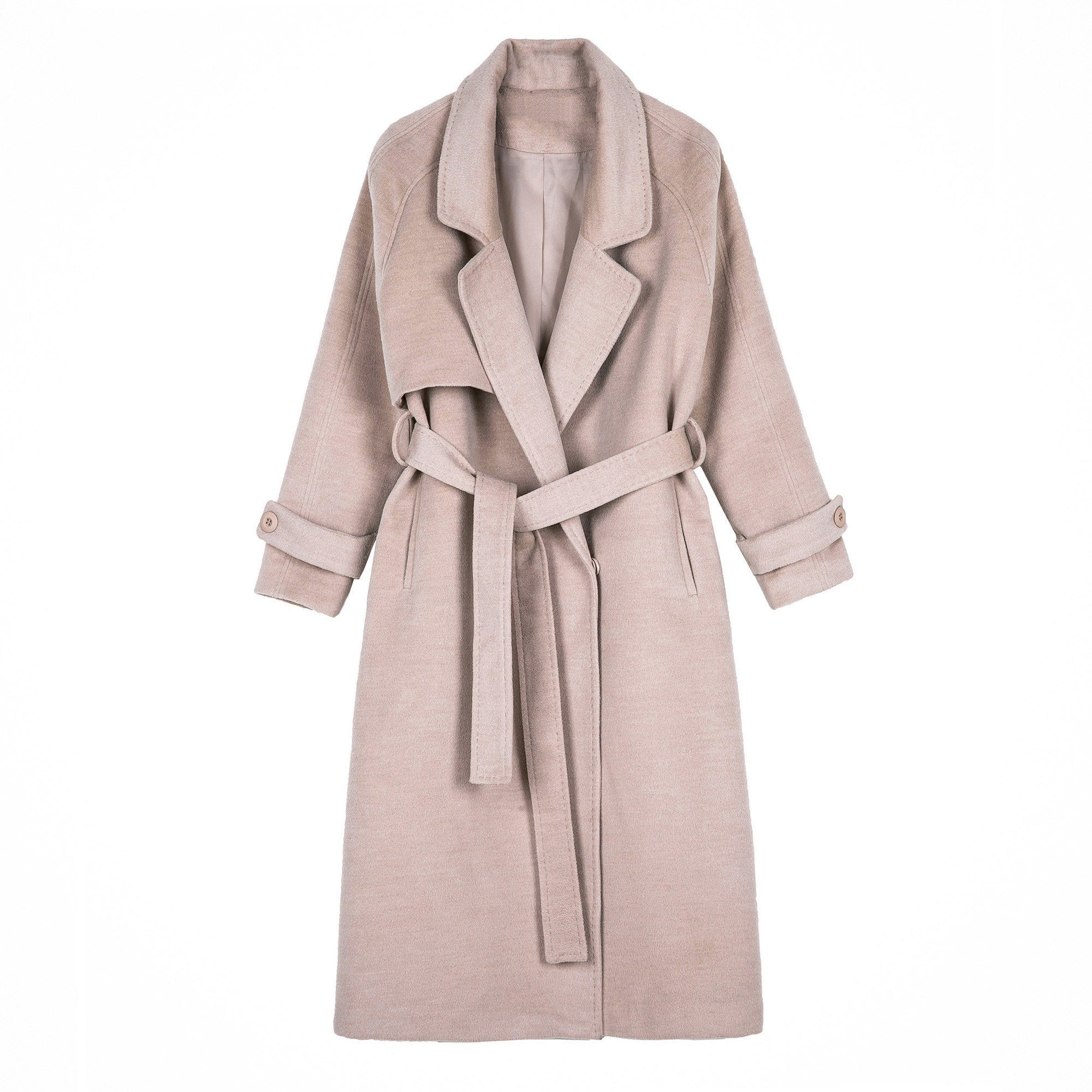 Long Belted Camel Trench Coat - Indigo