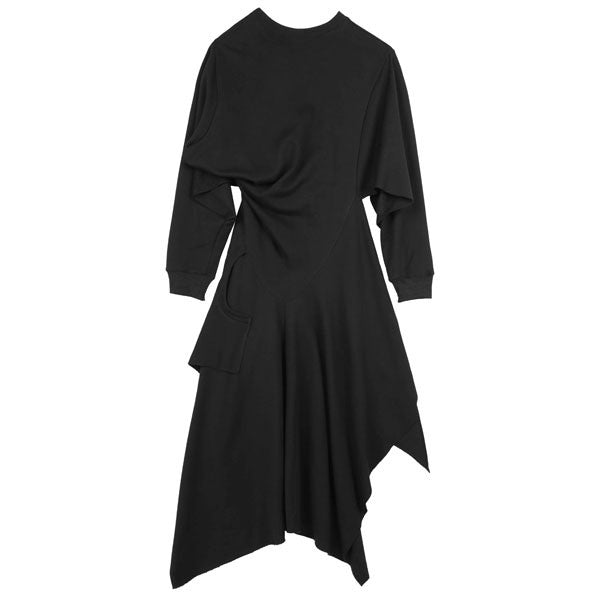 Raw Hem Drape Dress - Indigo