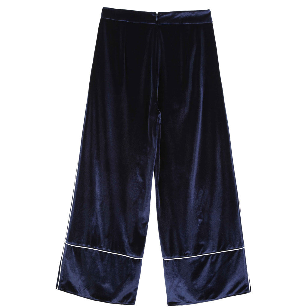 Midnight Blue Velvet Trousers - Indigo