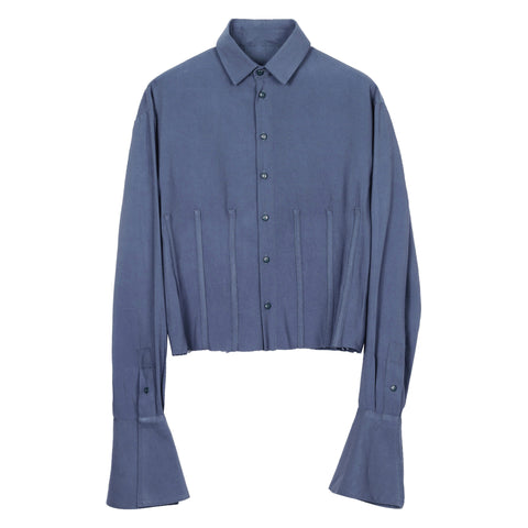 Dusky Blue Seam Detailed Cropped Shirt