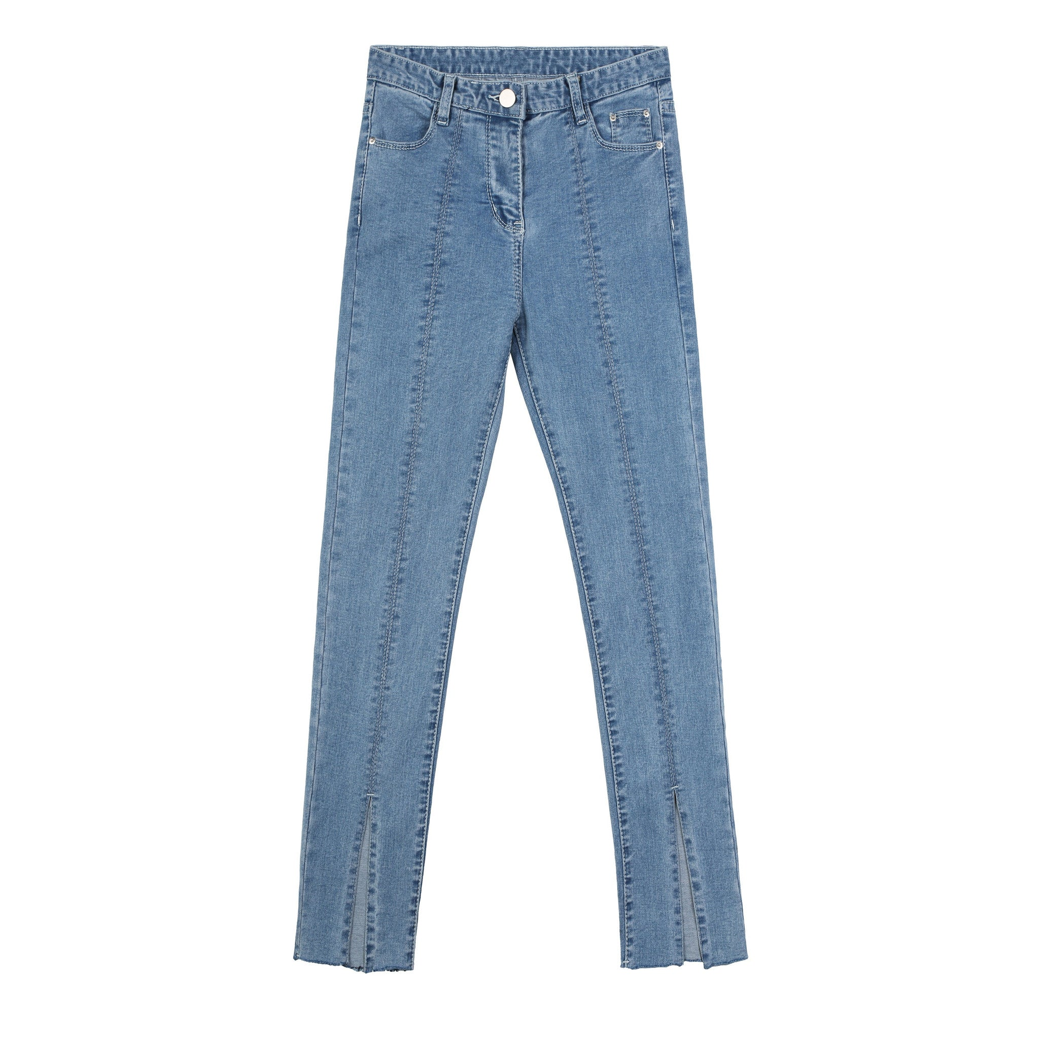Split Front Light Blue Skinny Jeans - Indigo