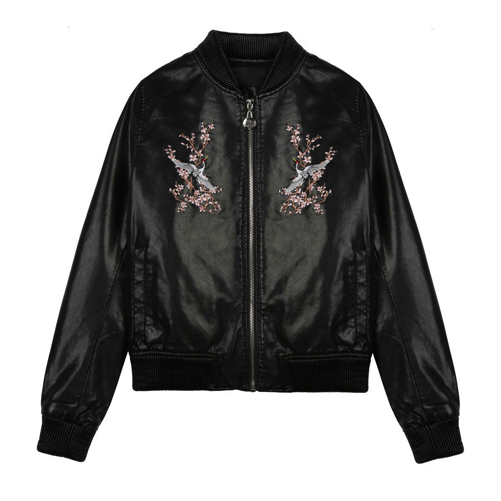 Red Heron Embroidered Bomber - Indigo