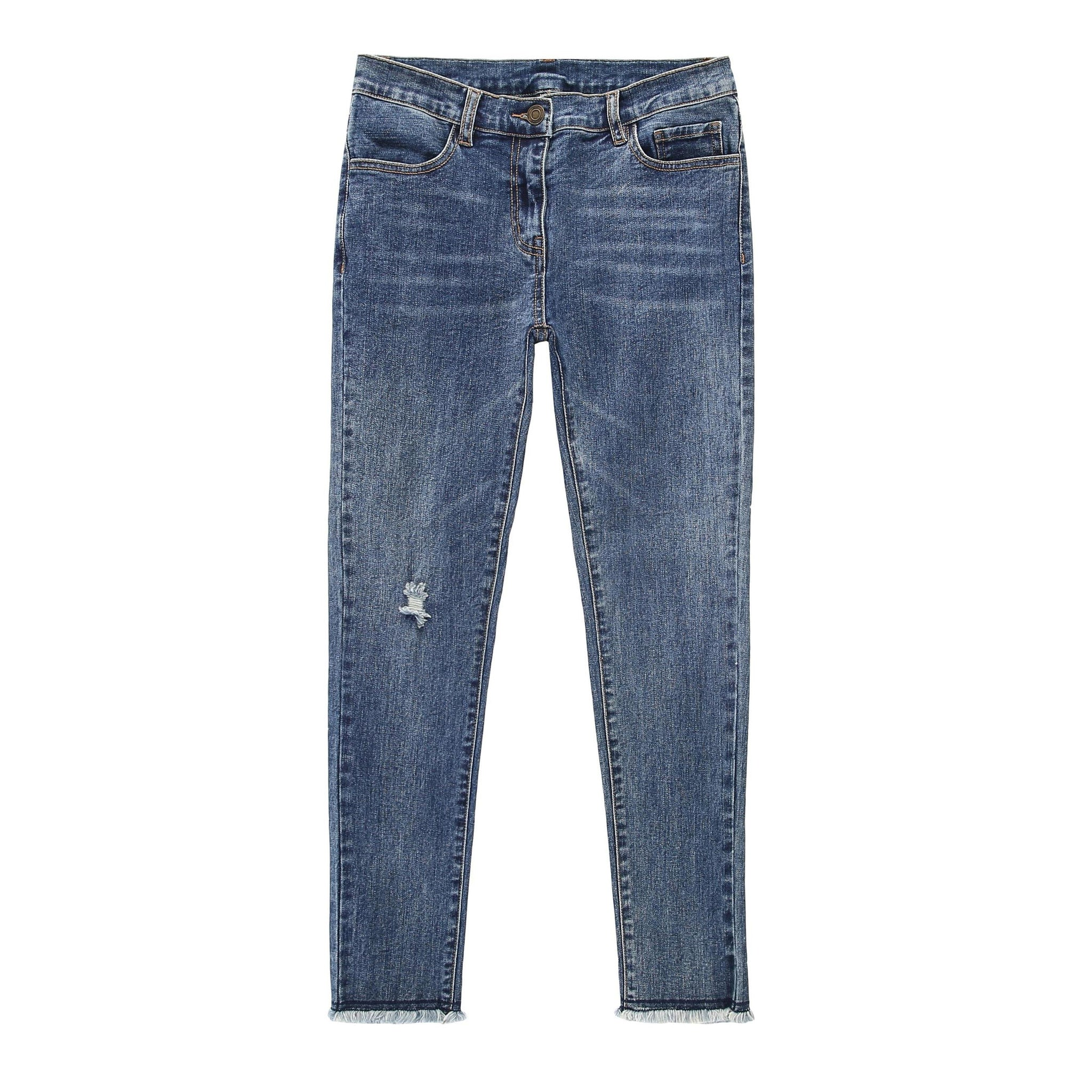 Distressed High-waist Jeans - Indigo