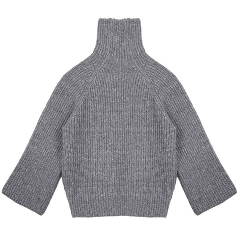 Wide Sleeve Funnelneck Sweater - Indigo