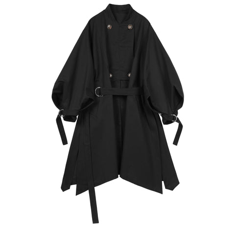 Black Belt Detail Coat - Indigo