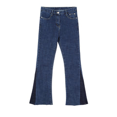 Two Tone Side Split Flare Jeans - Indigo