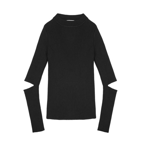 Cutout Ribbed Long Sleeves - Indigo