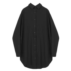 Black Button Back Collar Shirt - Indigo