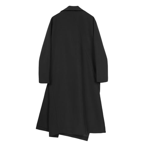 Black Asymmetric Button Front Coat - Indigo