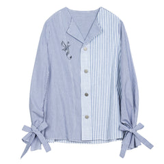 Tie Cuff Blue And White Striped Shirt - Indigo