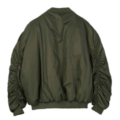 Army Green Satin Bomber - Indigo