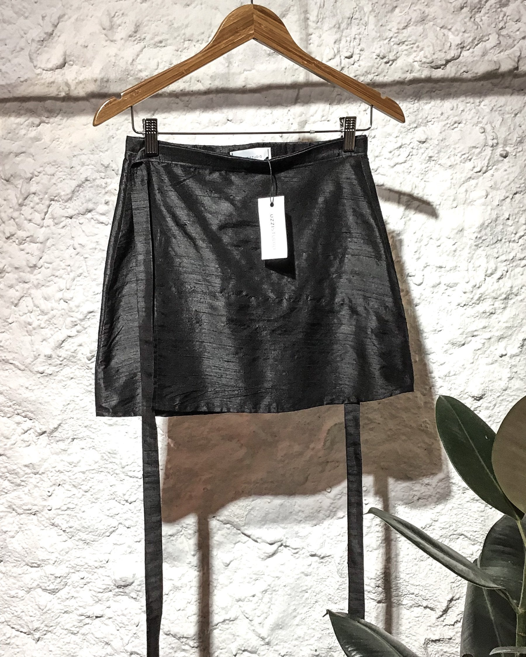 Paula raw silk mini wrap skirt. - Plhi studio