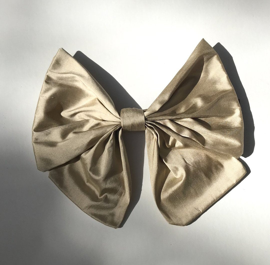 Double bow raw silk barrette. - Plhi studio
