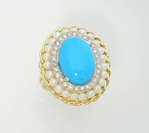 14k Yellow Gold Handmade Pearl Diamond Turquoise Ring