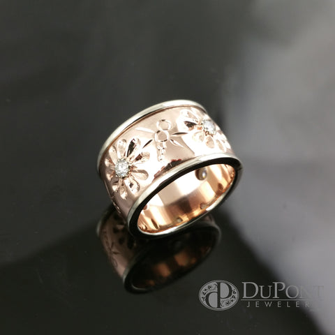 Handmade Engrave Rose and White Gold Band