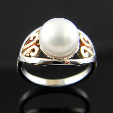 Handmade Scrole White and Rose Gold Pearl Ring