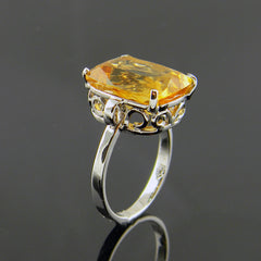 Handmade Citrine Scroll 14k White Gold Ring