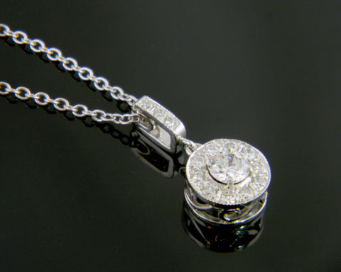 14k White Gold Halo Pendant with Scrole