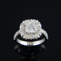 Cushion Shaped 14k White Gold Engagement Ring