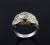 Platinum and 18k Yellow Gold Bezel Set Pave Ring