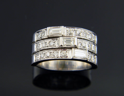 14K White Gold Three Row Diamond and Baguette Ring
