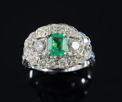 Handmade Emerald Custom Design Engraved Ring