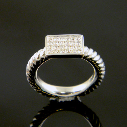 Continuun Silver and Diamond Pave' Ring