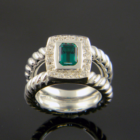 Continuum Silver Emerald and Diamond Cushion Shaped Ring