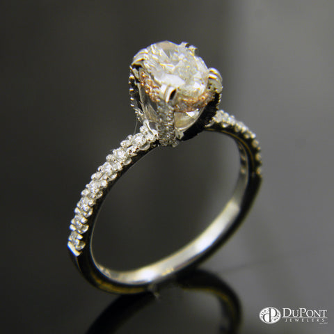 14k White Gold Engagement Ring with Diamonds in the Band