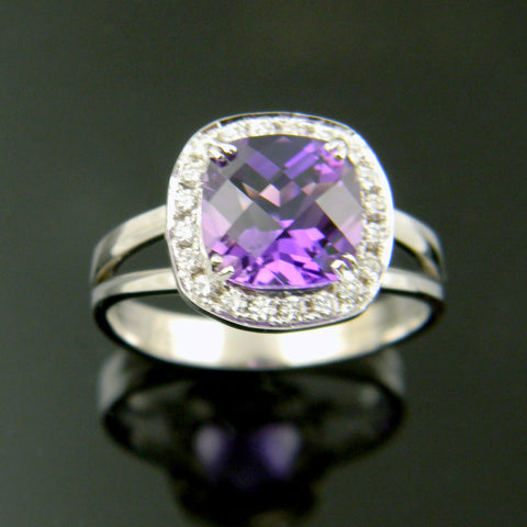 14K White Gold Antique Cushon Cut Amethyst Halo Ring