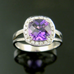 14K White Gold Antique Cushion Cut Amethyst Halo Ring