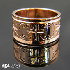 14K Rose Gold Engraved Band