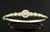 14k Yellow Gold Hand Engraved Bracelet with Halo Diamond Trim