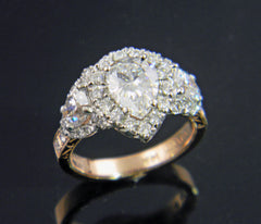 Pear Shaped Diamond Handmade Engraved 14k Rose and White Gold Engagement Ring