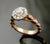 Rose Gold Halo Marquise Style Engraved Band Engagement Ring
