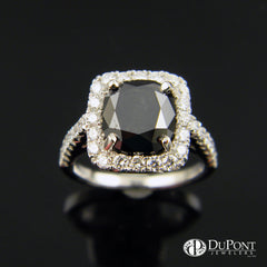 Cushion Shaped Black Diamond Halo Handmade Engagement Ring