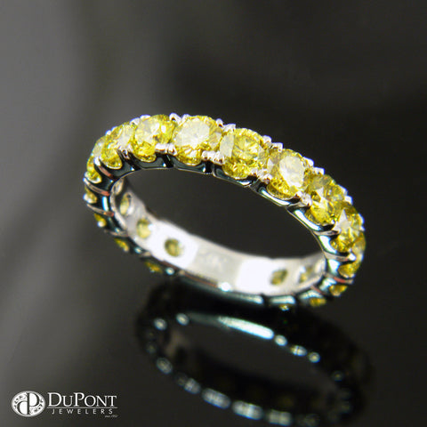 14k White Gold Handmade Diamond Engrave Wedding Band with Yellow Diamonds