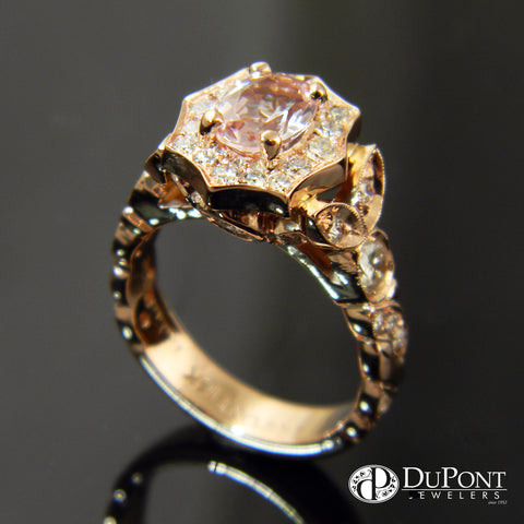 14k Rose Gold Morganite and Diamond Engagement Ring