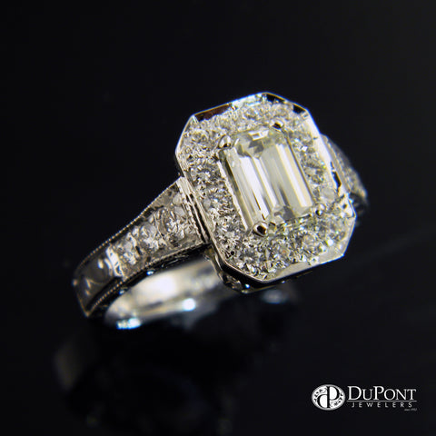 14k White Gold Emerald Cut Diamond Halo Handmade Engraved Engagement Ring