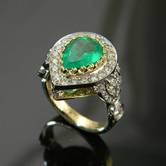 14k Yellow Gold Pear Shaped Emerald Ring with Diamond Halo
