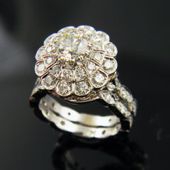 14k White Gold Handmade Engagement Ring with Rose Gold Pave'