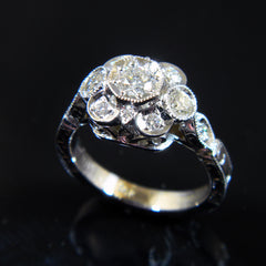 14k White Gold Handmade Antique Style Diamond Ring
