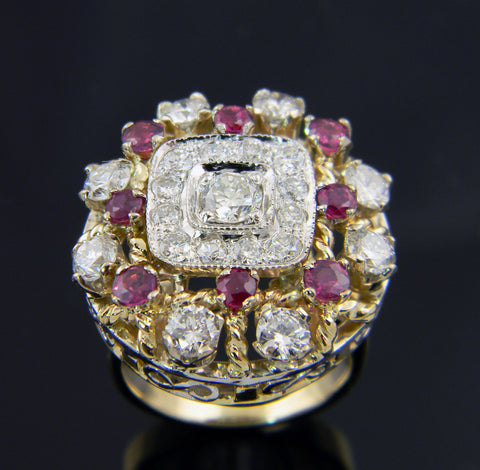 14k Yellow and White Gold Ruby and Diamond Ring