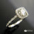 14k White Gold Cushion Shaped Halo Engagement Ring