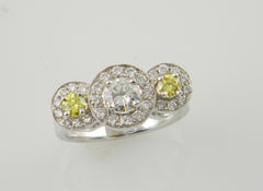 Halo, Yellow Diamond, 14k, White Gold Ring