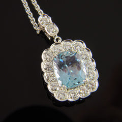 Cushion Shaped Aquamarine with Diamonds Pendant