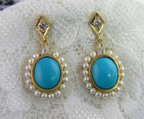 Turquoise Diamond and Pearl Earrings