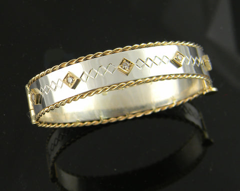 Diamond Twisted Wire Bracelet 14k Yellow Gold and Sterling Silver