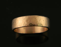 Men's Pink Gold Wedding Band with Distressed Finish